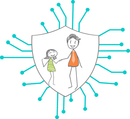 Icon of a protective shield for the Internet with a family on the shield