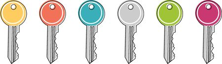 Icon of a colored key in the flat design style