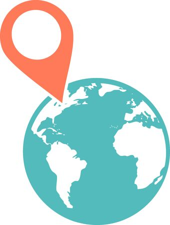 A pin positioned on a globe to show a location