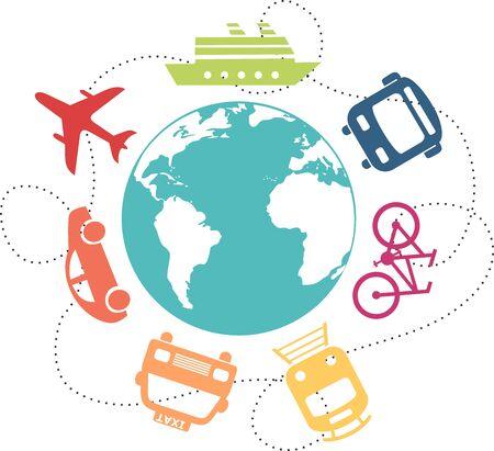 Verschiedene Transportmittel rund um den Globus