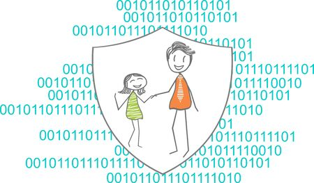 Illustration of a family on a line of code
