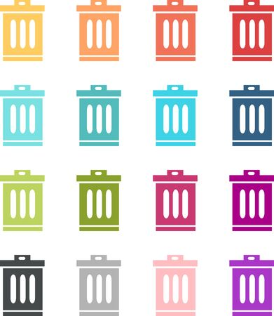 Set of colored bin icons Illustration