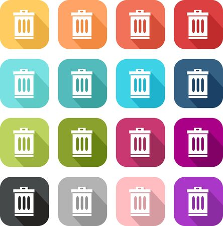 Set of colored bin icons
