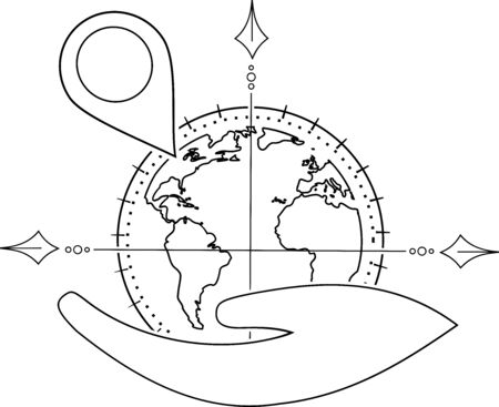 A pin on a globe in one hand to show a location