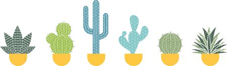 Potted cactus with decorative motifs