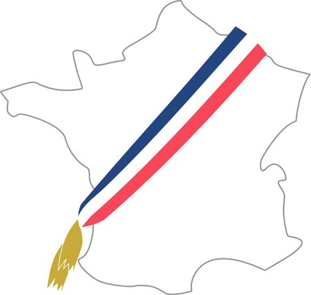 Map of France with the mayor's tricolor scarf Vecteurs