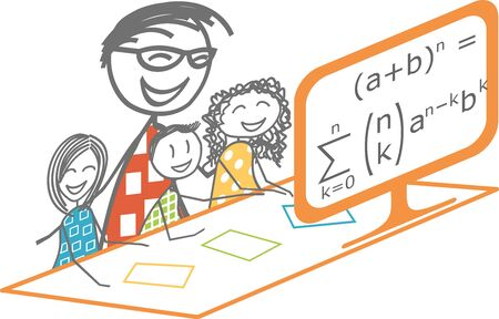 A parent makes his children work through a computer-based distance learning course