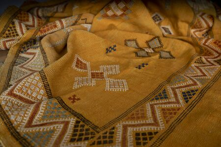 Yellow ocher Kilim of Morocco Stockfoto