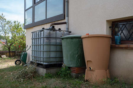 System for collecting rainwater through gutters for the garden