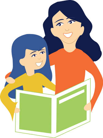 A mother and daughter read together Vettoriali
