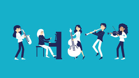 A band of musicians plays music with musical instruments Иллюстрация
