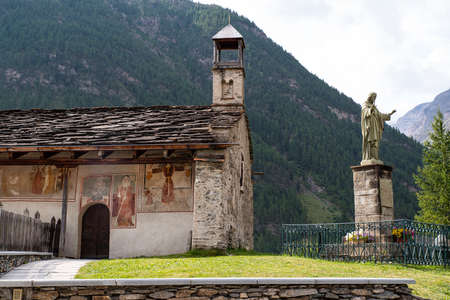 Old church seen from the outside in the Alps in France