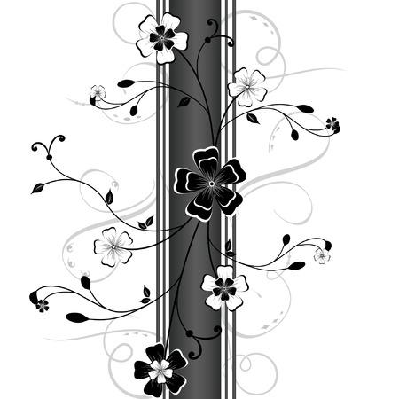 dessin noir blanc: Arri�re-plan de vecteur floral