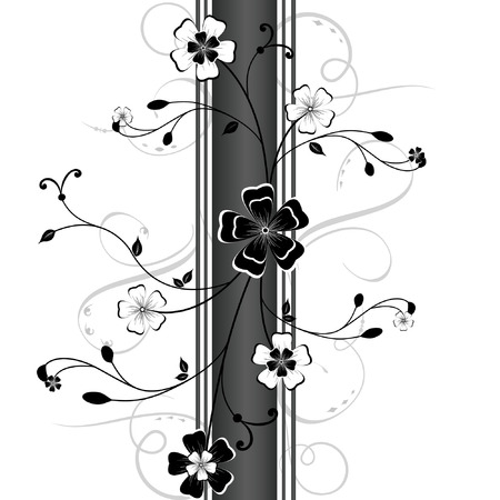 black and white image: Floral vector background