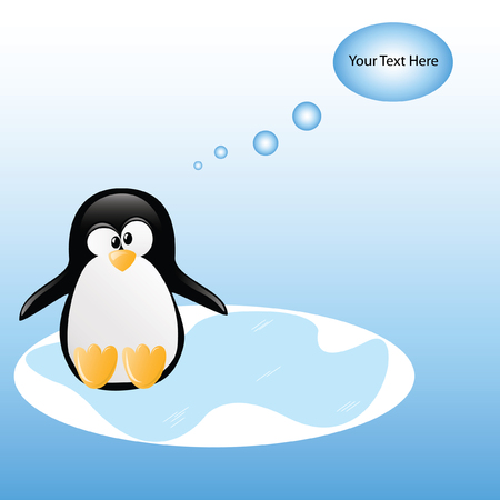 funny thinking penguin  Vector