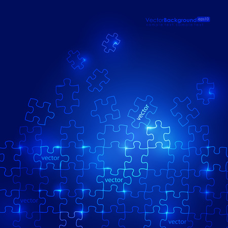 Glowing Blue Puzzle Background Stock Vector - 8888017