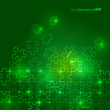 Glowing Green Puzzle Background Stock Vector - 8888016