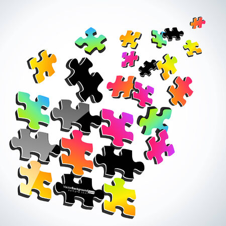 alone in crowd: 3d Colorful Puzzle Design  Illustration