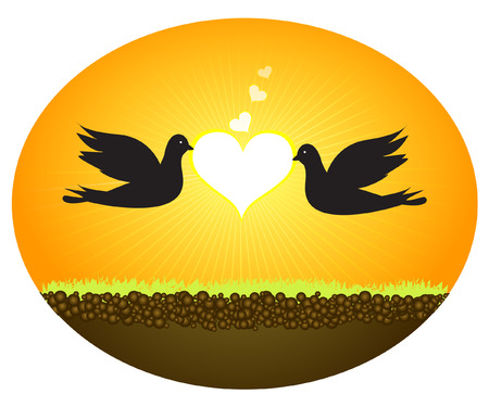 Doves In Love  Vector