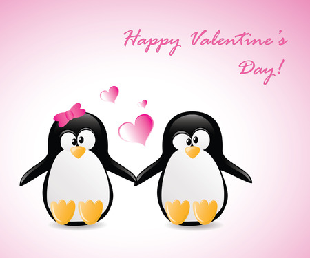 Valentines Greeting Penguins