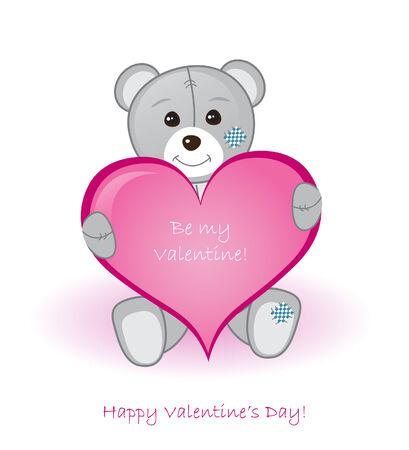 cute teddy bear: Teddy Bear with Valentine Heart Illustration