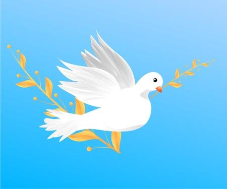 Fliegende weiße Taube halten einen Zweig
