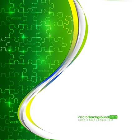 Glowing Green Puzzle Vector Composition