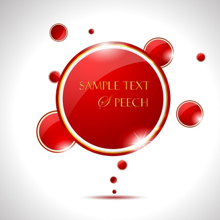 Elegant Glossy Red Speech Bubble  Vector