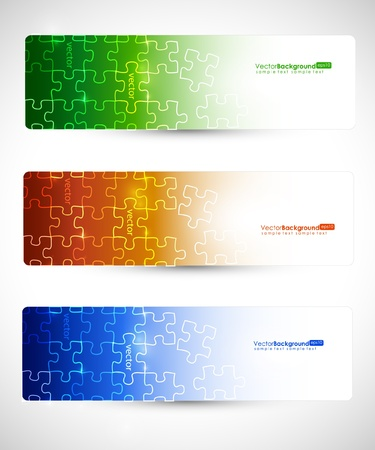 Eps10 Set of Banner Puzzle Vector Design  Vector