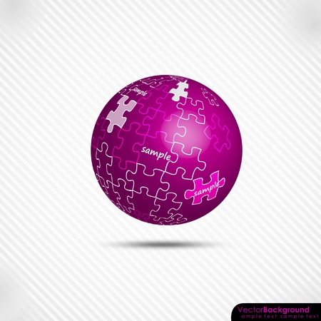 3d Glowing Pink Globe Puzzle Vector Background