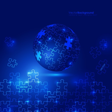 Glowing Blue 3d Globe Puzzle Vector Background  Vector