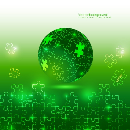 Glowing Green 3d Globe Puzzle Vector Background Illustration