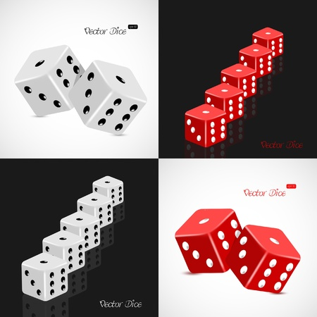 Set of 3D white and red dice  Vector