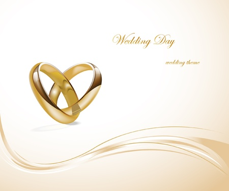 Two gold wedding rings design  Stock Vector - 9629986