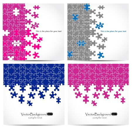 Set of puzzle vector design  Illustration