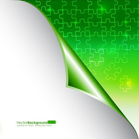 puzzle corners: Glowing Green Puzzle Vector Background