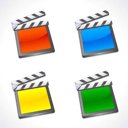 slate: Set of Colorful Film Slate  Illustration
