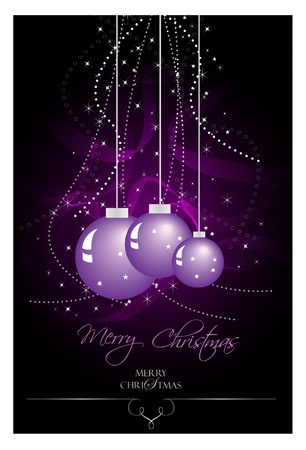 natale: Purple Christmas bulbs with stars and waves  Illustration