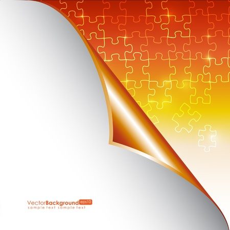 puzzle corners: Glowing Orange Puzzle Vector Background