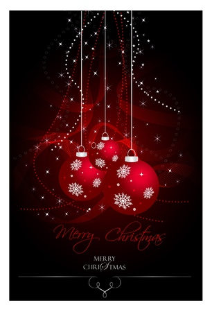 natale: Red Christmas bulbs with stars and waves  Illustration