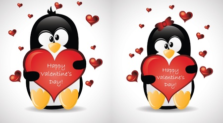romeo and juliet: Valentines Greeting Penguins Illustration
