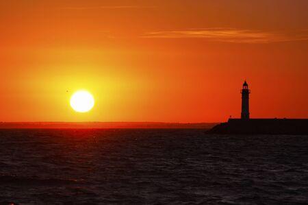 sundown: Lighthouse at sunset
