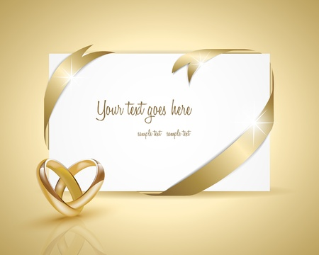 Wedding rings design with card Vector