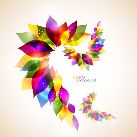 Rainbow floral abstract background Illustration