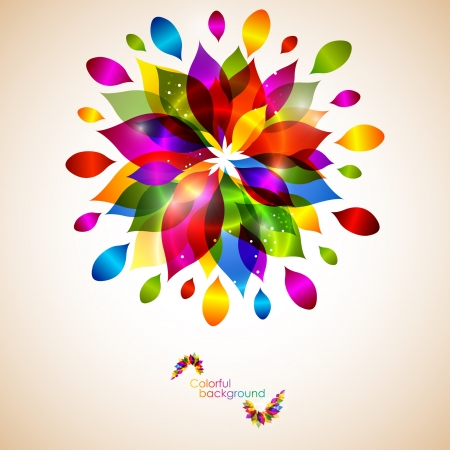rainbow print: Floral rainbow abstract background