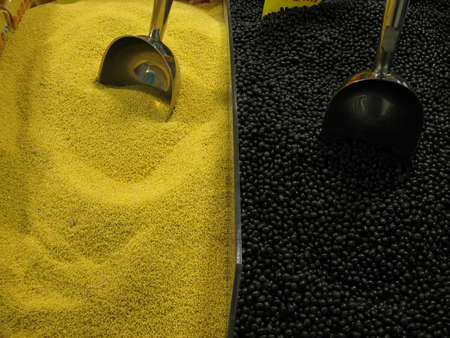 couscous and black beans with measuring spoons to the market Stock Photo - 12402759