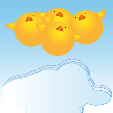 Easter chicks hanging in the blue sky on a cloud