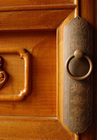 door to a Buddhist temple in Shanghai photo
