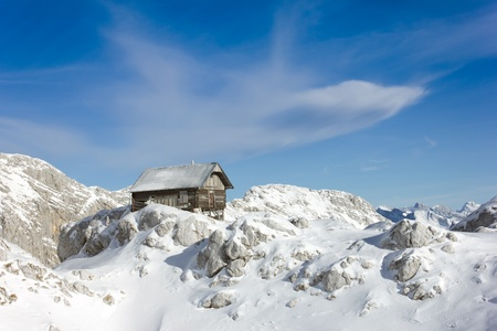 scenical: Little scenical chalet on a mountain peak in the giulian alps