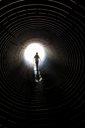 tunnel vision: walk through the tunnel for reflux of water Stock Photo